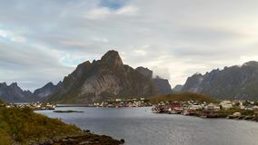 Moving clouds over the fjord of Reine stock footage