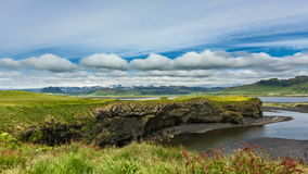 Moving clouds over Icelandic mountain landscapes stock video