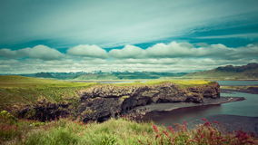 Moving clouds over Icelandic mountain landscapes stock footage