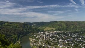 Moving clouds over the Moselle river near Traben-Trabach stock video