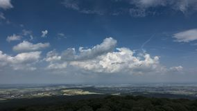 Moving clouds over the Wetterau as seen from viewpoint Winterstein stock video