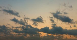 Moving clouds and sundown stock footage