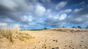 Moving Cloudy sky at a sandy dessert Royalty Free Stock Image