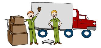 Moving Company Cartoon Team With Truck and Boxes Stock Images