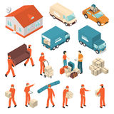 Moving Company Service Isometric Icons Set. Moving company professional packing transportation unloading and delivery certified service isometric icons Stock Photography