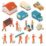 Moving Company Service Isometric Icons Set Stock Photography