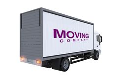 Moving Company Truck. Illustration. Cargo Truck Rear View Stock Photos
