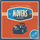 Moving company vintage background template. Old Stock Image