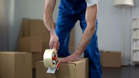 Free Moving Company Worker Packing Cardboard Boxes, Quality Delivery Services Stock Photos - 127736563