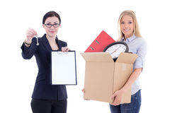 Moving concept - attractive business woman showing clipboard and Stock Photo