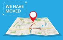 Moving concept. Changing address,. New location on navigation map. Use for, landing page, template, ui, web, mobile app, poster, banner Vector illustration in stock illustration