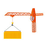 Moving the container with a tower crane. Moving and delivery single icon in cartoon style isometric vector symbol stock Stock Images