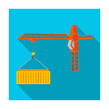 Moving the container with a tower crane. Moving and delivery single icon in flat style isometric vector symbol stock Stock Images