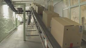 Moving conveyor belt with cardboard boxes along corridor in workplace.