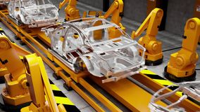 Moving conveyor belt with frameworks of cars stock video