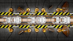 Moving conveyor belt with frameworks of cars stock footage