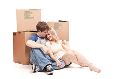 Moving couple Royalty Free Stock Image
