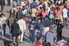 Moving crowd in Dalian, China Stock Photos