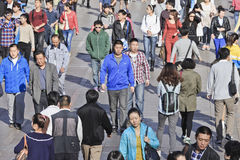 Moving crowd in Dalian, China Royalty Free Stock Image