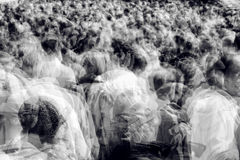Moving crowd multiple exposure Stock Photo