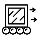 Moving a cube icon, outline style stock illustration
