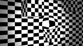 Moving cubes with bulge on checkered plane. Animation-Moving cubes with bulge on checkered plane vector illustration