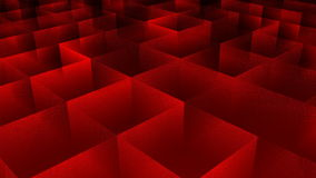Moving cubes, red background. 3D rendered stock video