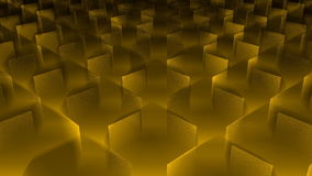 Moving cubes, yellow background. 3D rendered stock footage
