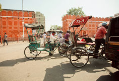 Moving cyclists in India Stock Photos