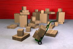 Moving Day. A warehouse full of boxes for moving out Stock Images