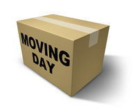 Moving day box. Representing movers and packaging for a move from one home to another Stock Photo