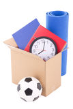 Moving day concept - cardboard with home storage isolated on whi Royalty Free Stock Photos