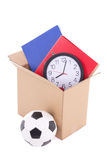 Moving day concept - cardboard with home storage Stock Photography