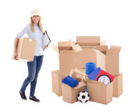 Moving day or delivery concept - woman with cardboard boxes with. Stuff isolated on white  background Royalty Free Stock Photos