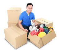 Moving day. man with cardboard box Royalty Free Stock Photo