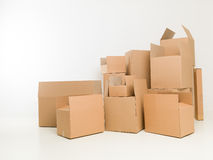 Moving day. Stacked up moving boxes in empty house. copy space available Royalty Free Stock Photos