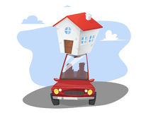 Moving day. Transportable house Royalty Free Stock Photos