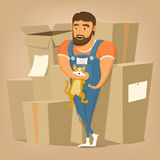 Moving and delivery company illustration.Mover man holding cat. Vector illustration Stock Image
