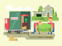 Moving design flat. Box delivery, cardboard transportation, truck and shipping, vector illustration Royalty Free Stock Photography