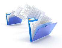 Moving documents. Moving documents between folders. 3d illustration Royalty Free Stock Images