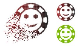 Moving Dot Halftone Happy Casino Chip Icon. Happy casino chip icon in fractured, pixelated halftone and undamaged solid variants. Points are arranged into vector royalty free illustration