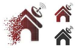 Moving Dot Halftone Space Antenna Building Icon. Space antenna building icon in fractured, dotted halftone and undamaged entire versions. Fragments are combined royalty free illustration