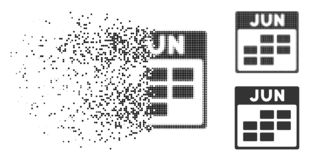 Moving Dotted Halftone June Calendar Grid Icon. June calendar grid icon in dissolved, dotted halftone and solid variants. Points are arranged into vector stock illustration