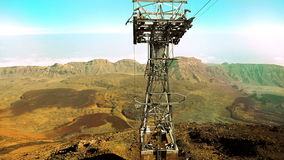 Moving down by funicular on cableway from Teide volcano stock footage