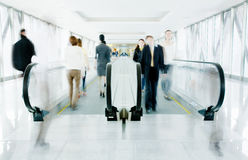 Moving escalator in corridor Royalty Free Stock Photo