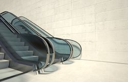 Moving escalator and empty wall in modern building Stock Image
