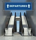 Moving escalator stairs in airport, departures sign Stock Photos