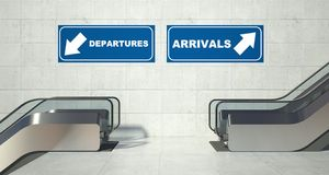 Moving Escalator Stairs, Arrivals Departures Sign Stock Photos