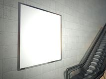 Moving escalator stairs and blank advertising billboard Stock Images