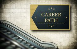 Moving escalator stairs with career path Stock Photo